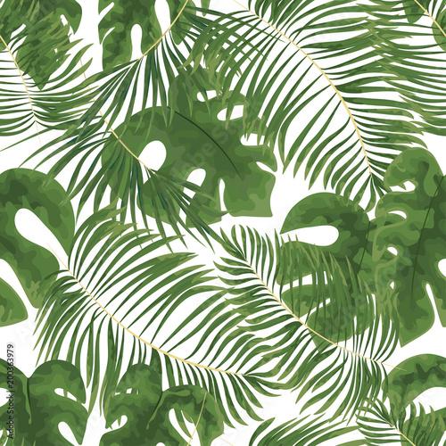 bez szwu deseń jaskrawozielonych liści tropikalnych na białym background.Vector Tropikalna palma pozostawia bez szwu deseń. Ozdobny tło dżungli. Kwiaciarnie na twój plakat, flayer transparentu.