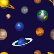 Doodle Cosmos VECTOR Background, Seamless Pattern, Hand Drawn Colored Planets on Dark Sky. - 200364348