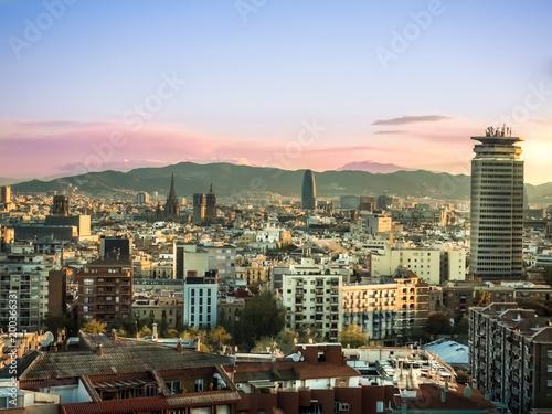Barcelona cityscape, Spain Poster