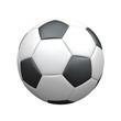 Leinwanddruck Bild - Klassischer Fußball aus Leder auf weißem Hintergrund