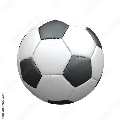Leinwandbild Motiv Klassischer Fußball aus Leder auf weißem Hintergrund