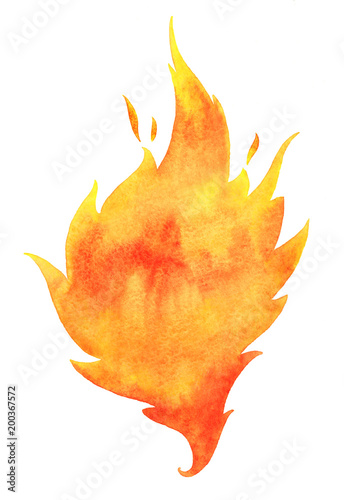 fototapeta na ścianę Watercolor fire with tongues of flame isolated on white. Background, template for text or lettering. Hand drawn yellow and orange aquarelle burning bonfire, campfire silhouette with sparks.