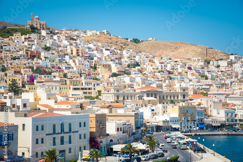Ermoupoli, Syros - Greece.  View of Syros port with beautiful buildings and houses in a summer day. - 200369720