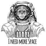 Chimpanzee Monkey Astronaut. Space suit. Hand drawn image of lion for tattoo, t-shirt, emblem, badge, logo patch kindergarten poster children clothing