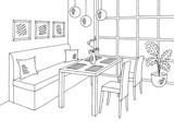 Restaurant graphic black white interior sketch illustration vector - 200374394