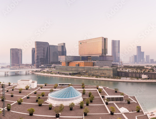 Keuken foto achterwand Abu Dhabi View of the canal and Cleveland Clinic in Abu Dhabi, U.A.E.