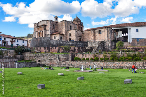Cusco, Peru - April 1, 2018: Qorikancha ruins and convent of Santo Domingo
