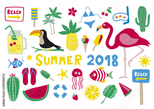 Summer 2018 Vector Collection Set on white background - 200386572