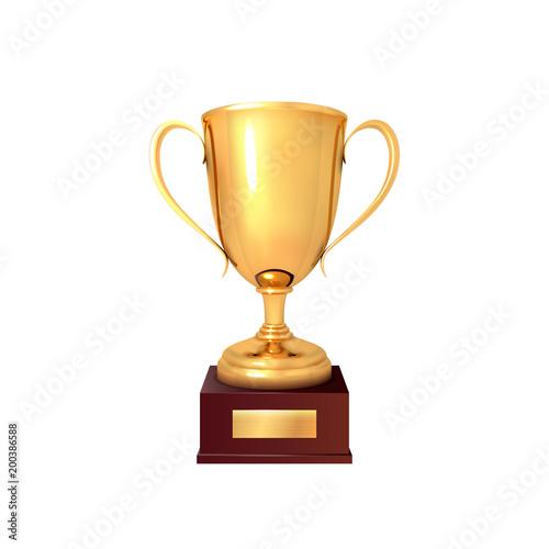 Puchar zwycięzcy. Realistyczna filiżanka złota samodzielnie na białym tle Ilustracja wektora
