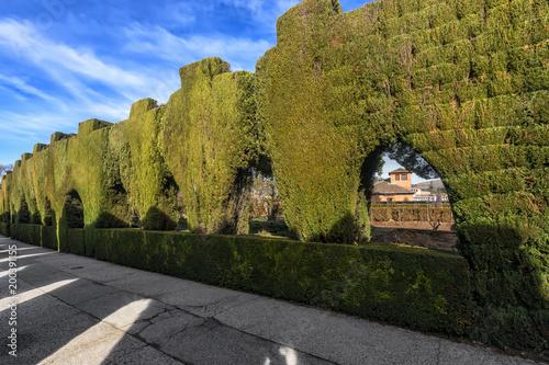 Sticker Generalife Garden in Fortress complex Alhambra, Granada, Spain.