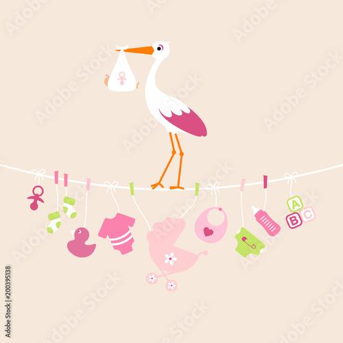 Stork Girl Baby Symbols Hanging - 200395138