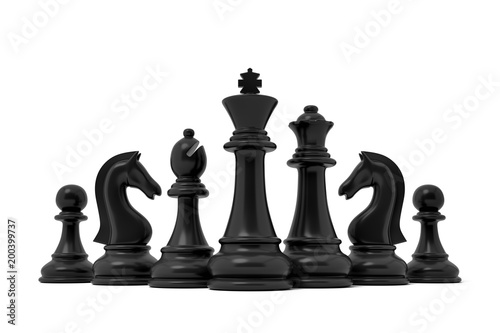 3d rendering of a chess black king stands in the center of other lesser black pieces on a white background.