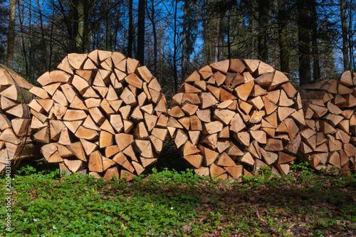 Foto op Aluminium Brandhout textuur Holzstapel