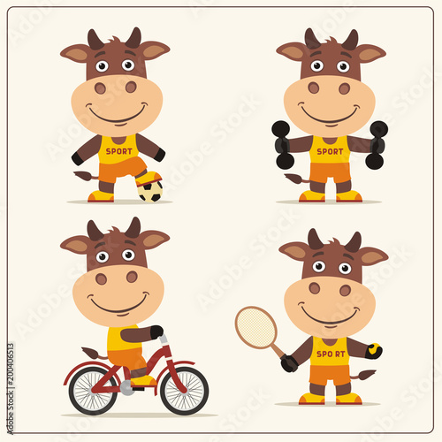 Set of funny bull is engaged in sports. Collection of cartoon bull of the sportsman: football player, with dumbbells, bicyclist, tennis player.