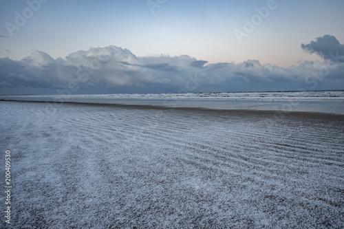 Plexiglas Grijs St Andrews, Scotland beach landscape in the snow