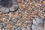 Abstract background, pebble stones and stamped concretes on the floor - 200415921