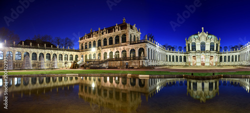Panorama of Dresden Zwinger Palace in Rococo style at night with reflection in water basin, Dresden, Saxony, Eastern Germany  - 200422935