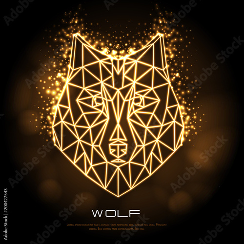 Fototapeta Abstract polygonal tirangle animal wolf neon sign. Hipster animal illustration.