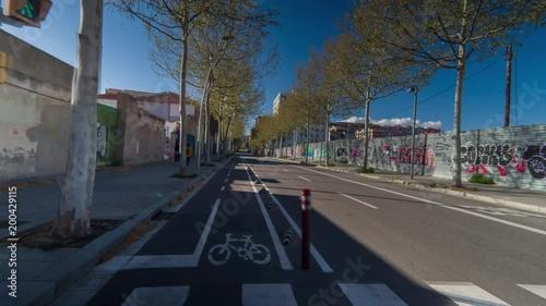 hyperlaspe pov shot travelling around the streets of Barcelona's PobleNou district