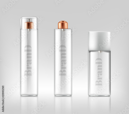 Vector promotion banner with realistic glass sprays, jars of cosmetic, gel, cream, bottles isolated on background. Skincare, beauty product for skin treatment. Mockup for brand design