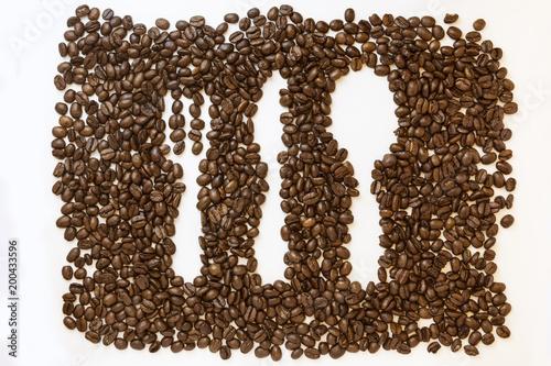 Fotobehang Koffiebonen Coffee beans cutlery icon