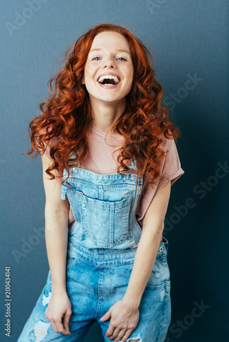 Laughing vivacious woman with a sense of humor