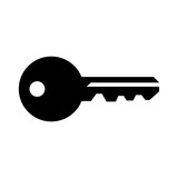 Simple, flat, black silhouette of a house key. Isolated on white - 200438374