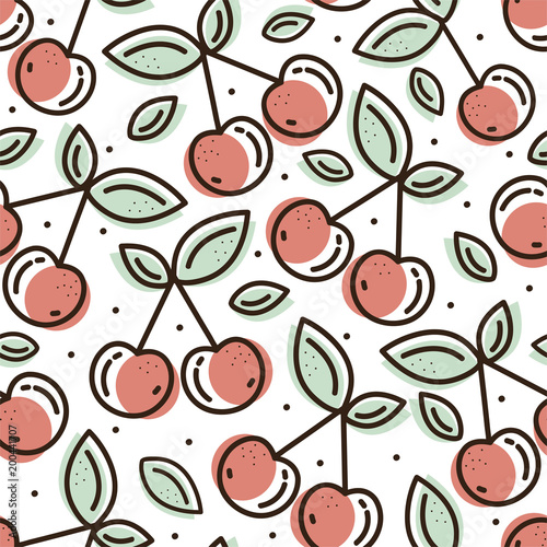 Cherry seamless pattern. Detailed illustration. Great for fabric and textile, flyer, banner, business cards, wallpaper, packaging or any desired idea. - 200441707