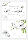 Set of two templates for greetings or invitations to the wedding in green and pink colors. Illustration by markers, a cute background of twigs with green leaves and white butterflies. - 200442394