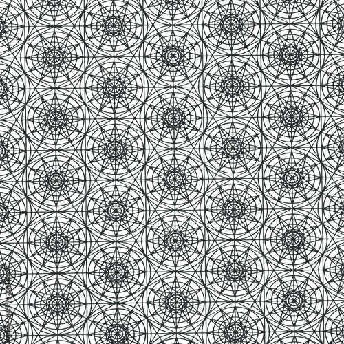 Vector abstract seamless pattern, geometric ornament. Tribal ethnic background, graphic repeating texture. Black and white - 200442579