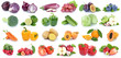 Fruits and vegetables collection isolated apple orange strawberries colors tomatoes fresh fruit - 200444537