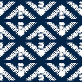Abstract indigo shibori seamless vector pattern with mosaic - 200455379