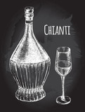 Vintage of Chianti wine Bottle and Glass. Ink hand drawn Vector illustration. Drink element for menu design. - 200459913