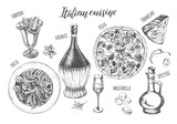 Pizza, chianti wine, mozzarella, spaghetti pasta, oil in a glass jug, parmesan, sabayon. Set of traditional dishes and products of Italian cuisine. Ink hand drawn Vector illustration. Food elements. - 200459950