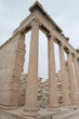 Columns and temple on the acropolis in Athens Greece.