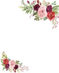 Watercolor Marsala and Blush Pink Roses © aves
