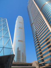 Low angle view of skyscrapers in Hong Kong