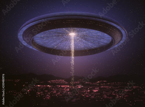 Aluminium UFO 3D illustration. Space alien ship UFO over the city. Conceptual image of ufology.