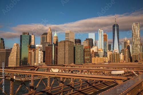 Foto op Plexiglas Brooklyn Bridge View from the Brooklyn Bridge at Sunrise