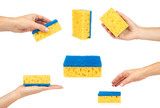 Set of sponges for cleaning, woman hand, isolated on white background - 200491963