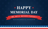 Happy Memorial Day Banner Vector illustration. Typography on blue star pattern background. - 200492548