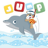 funny diver cartoon vector ride on cute dolphin - 200504154