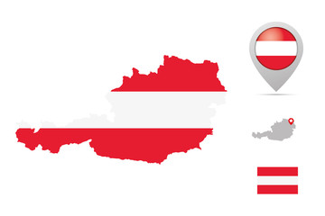Austria map in national colors, flag and marker
