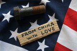 American Chinese Trade War concept. Flag of USA background - 200506567