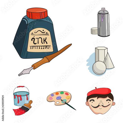 Malarz i rysunek ikony kreskówka w zestaw kolekcja dla projektu. Artystycznych akcesoriów wektorowa symbolu zapasu sieci ilustracja.