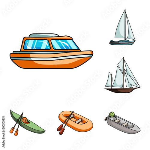 Ikony kreskówka transportu wody i morza w zestaw kolekcja dla projektu. Różnorodność łodzi i statków wektorowa symbolu zapasu sieci ilustracja.