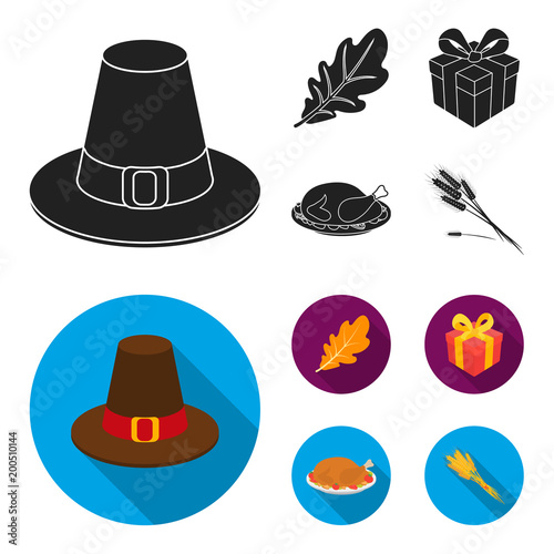 Hat of a pilgrim, oak leaf, gift in a box, fried turkey. Canada thanksgiving day set collection icons in black, flat style vector symbol stock illustration web.