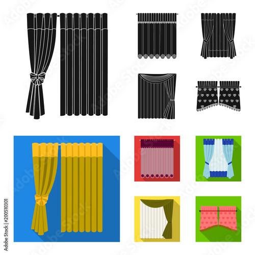 Zasłony, zasłony, podwiązki i inne ikony internetowych w czarnym, płaskim stylu. Tekstylia, meble, ikony łuku w zestawie kolekcji.