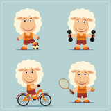 Set of funny sheep is engaged in sports. Collection of cartoon sheep of the sportsman: football player, with dumbbells, bicyclist, tennis player. - 200510959