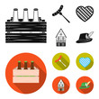 Box with beer, fried sausage, heart of the festival, bavarian cottage. Oktoberfest set collection icons in black, flat style vector symbol stock illustration web.